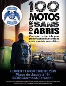 100 Motos pour sans abris – United Riders – Clermont-Ferrand (63) @ Place de la Jaude | Clermont-Ferrand | Auvergne-Rhône-Alpes | France