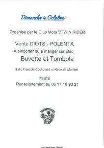 Vente DIOTS - POLENTA -Club Moto VTWIN RIDER - st Alban de Montbel (73) @ Salle François Cachoud à st Alban de Montbel