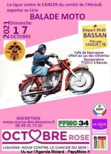 Balade Moto - Octobre Rose - Bassan (34) @ Bassan (34)