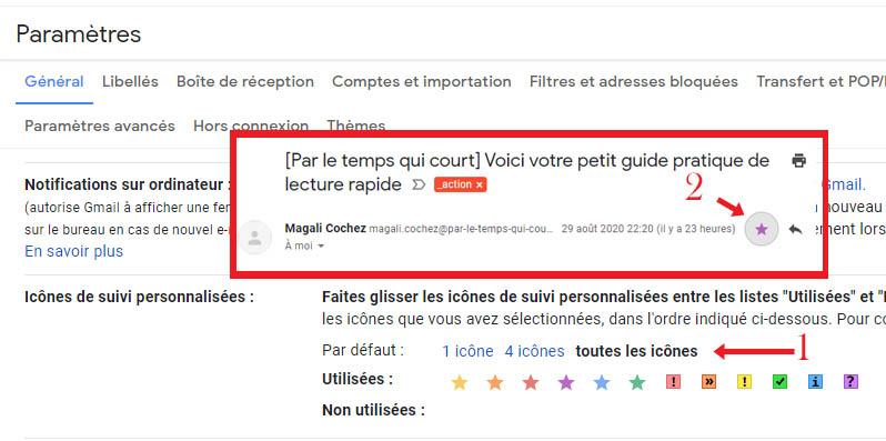 capture d'écran explicative pour coloriser les icônes de suivi dans Gmail site : https://par-le-temps-qui-court.fr de Magali Cochez