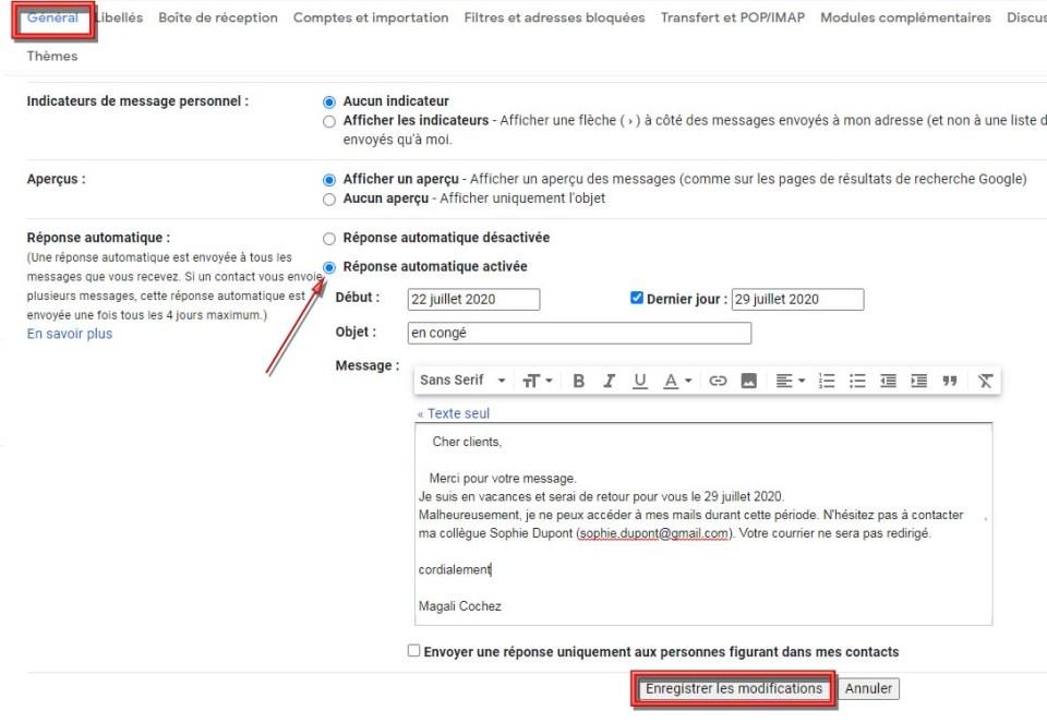 réponses automatiques avec Gmail site : https://par-le-temps-qui-court.fr de Magali Cochez