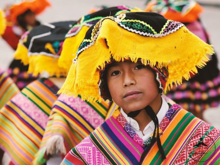 Peruvian child in colourful clothing