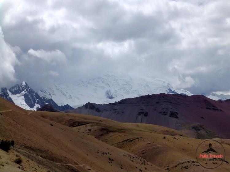 Snowcapped mountain peaks