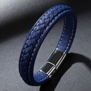 Blue Leather Rope Bracelet