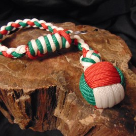 Red, Green and White Monkey Fist Key chain