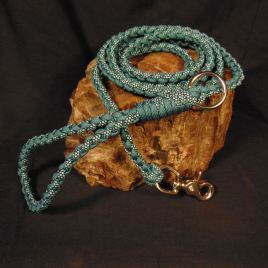 Turquoise Diamonds and Teal Paracord Dog Leash