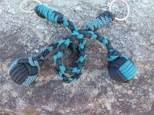 turquoise, Teal and Black monkey Fist