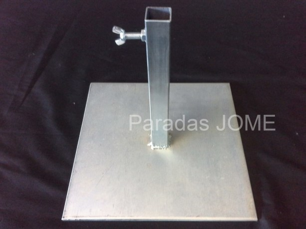 Base tipo placa de hierro macizo