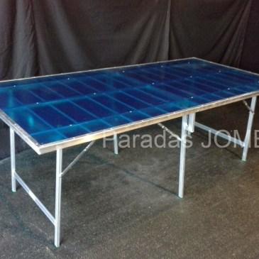 Mesa plegable de aluminio con resina azul MOD-4