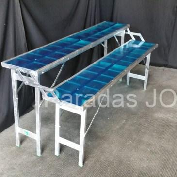 Mesa plegable de aluminio tipo escalera de 2 estantes
