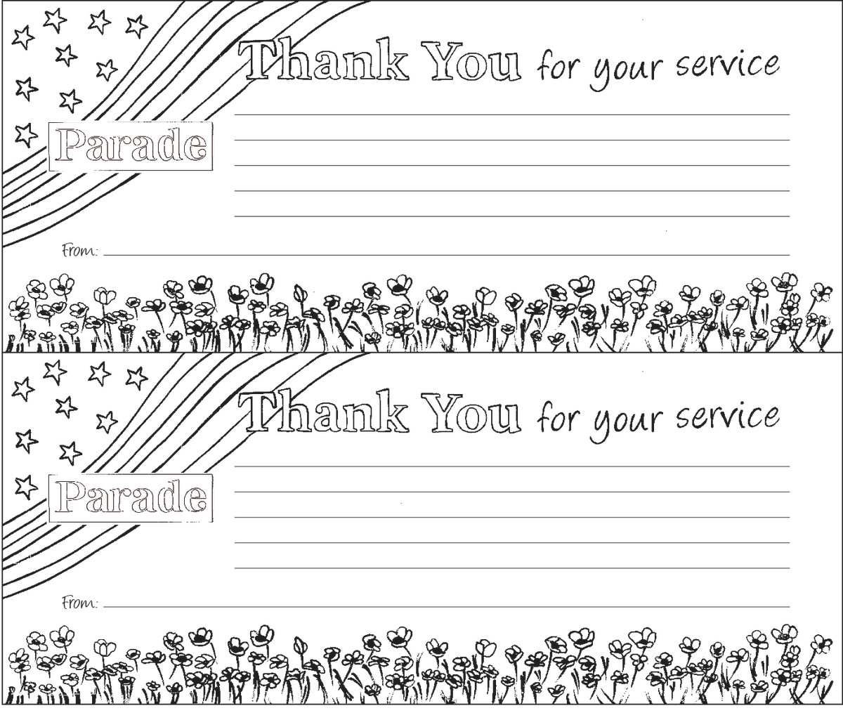 Color A Free Downloadable Veterans Day Thank You Note Or