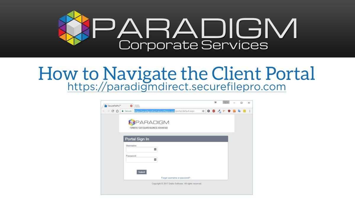Paradigm SecureFilePro Client Portal Walkthrough