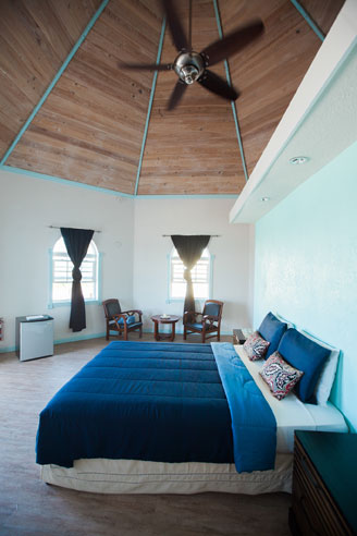 amazing ceiling of the one bedroom cottage in Exuma