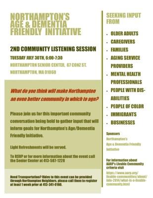 Northampton's Age & Dementia Friendly Initiative:Community Listening SessionNNorthampton's Age & Dementia Friendly Initiative:Community Listening Session