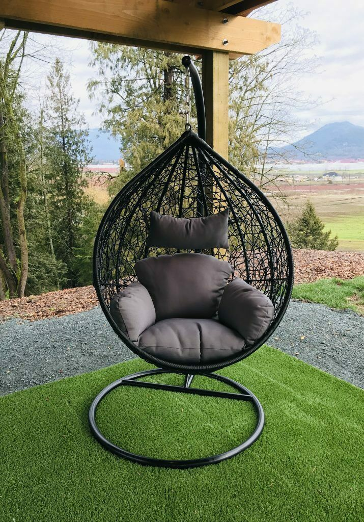 Rattan Effect Garden Hanging Egg Swing Chair Relaxing Patio Hammock W Cushions Paradise Furniture