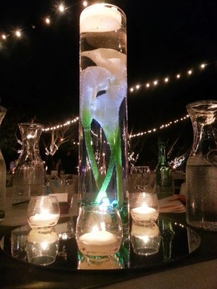 Glowing calla lily centerpiece