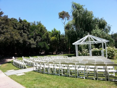 Ceremony under clear blue skies