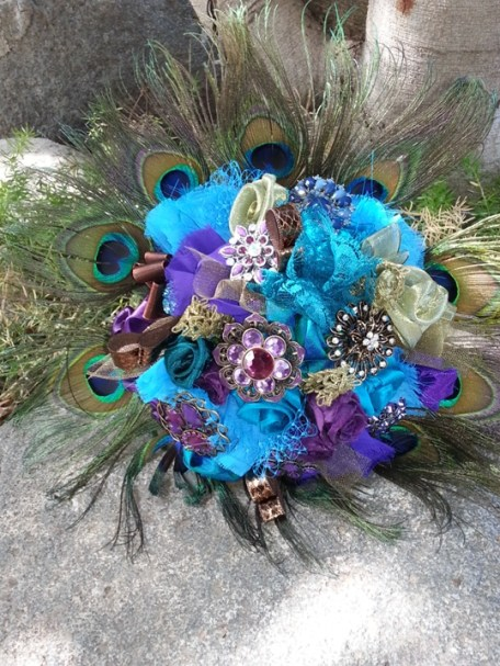 Ribbon and broach bouquet