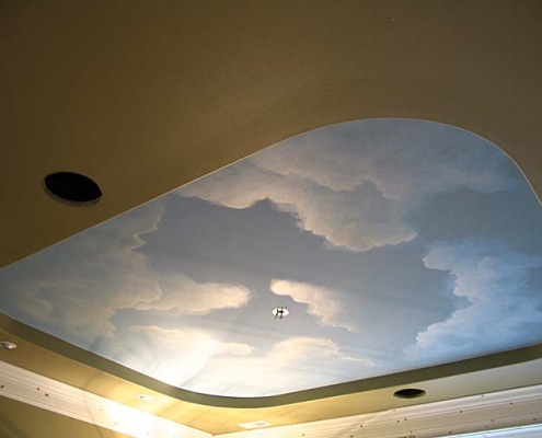 painting your living room coastal style curtains cloud ceiling murals and painted phrases - paradise studios