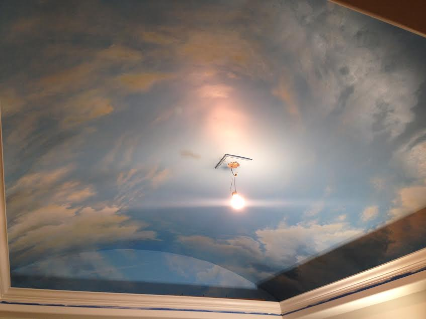 lighting in living room orange cloud ceiling murals and painted phrases - paradise ...