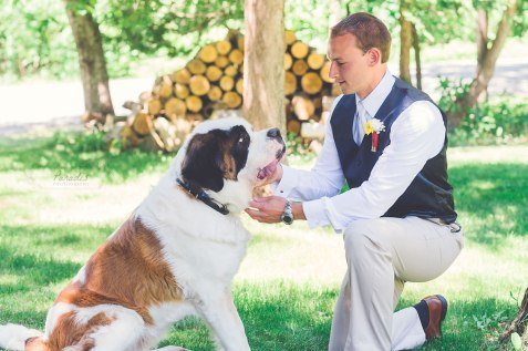 Groom Dog St Bernard firefighter Maine wedding back yard Paradis Photography