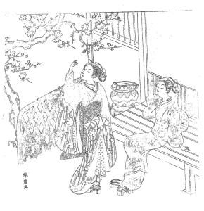 鈴木春信 Suzuki Harunobu 塗り絵 coloring 浮世絵 ukiyo-e_Two Young Women Admiring Plum Blossoms-rinkaku00