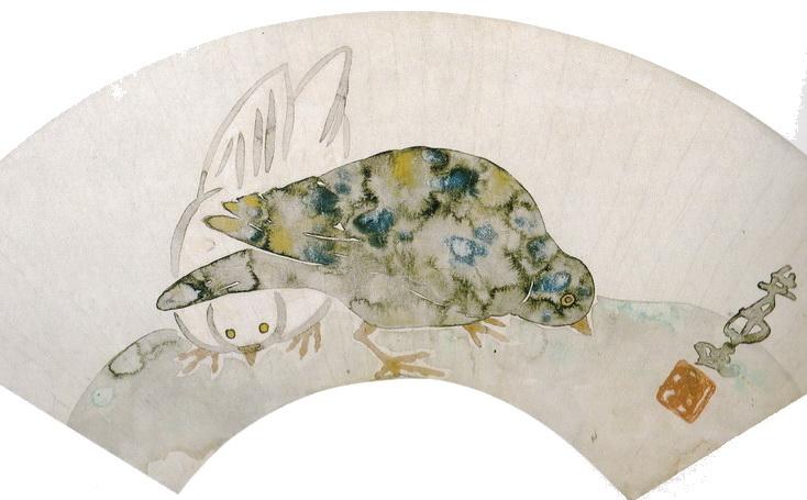 中村芳中 Nakamura Hochu_鳩図扇面 部分 Doves