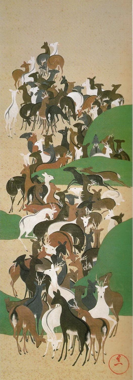 鈴木其一 Suzuki Kiitsu_群鹿図(寿老寿鶴・群鹿・群鶴図) deers