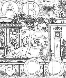 ウォルター・クレイン Walter Crane 塗り絵 coloring_ The Alphabet of Old Friends -abcd-rinkaku03