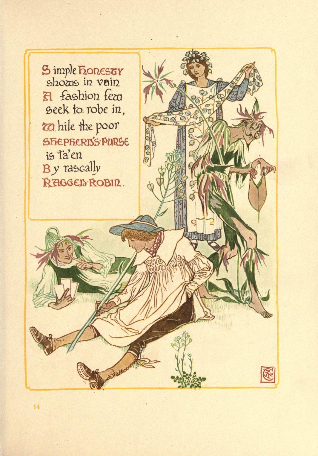 ウォルター・クレイン Walter Crane 古い英国の庭の花のファンタジー A floral fantasy in an old English garden-12