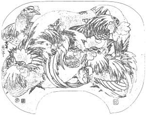 浮世絵 ukiyo-e 塗り絵 coloring hokusai_Flock of Chickens-rinkaku01