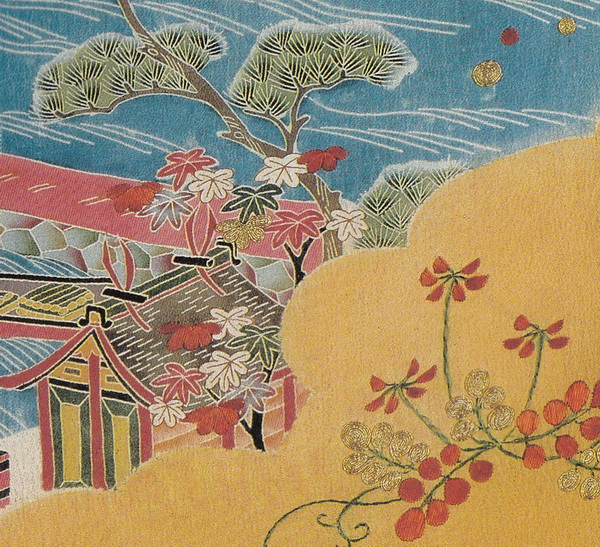 Kosode with views of Kyoto-01