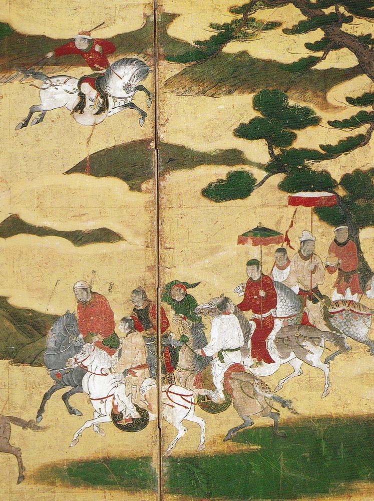 韃靼人狩猟図屏風 Scene of Tartars Hunting on Horseback