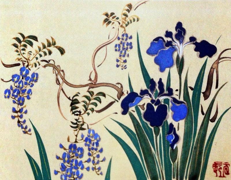 鈴木其一 Suzuki Kiitsu 草花十二ヶ月画帖 五月 Flowers of the Twelve Months, May