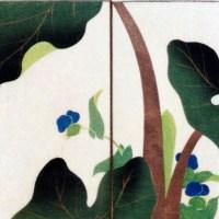 其玉画譜 15 芋の葉の露と露草