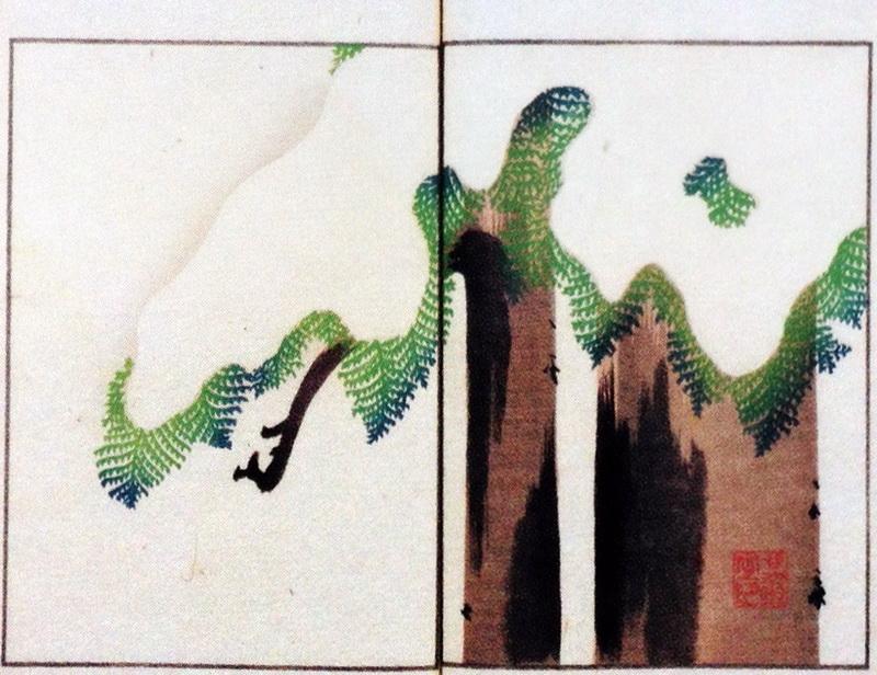 其玉画譜 16 雪檜 Book of pictures 16 Japanese cypress and Snow