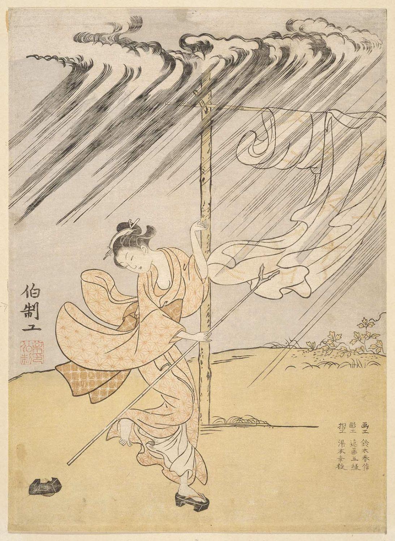 鈴木春信 Suzuki Harunobu 夕立 A Young Woman in a Summer Shower