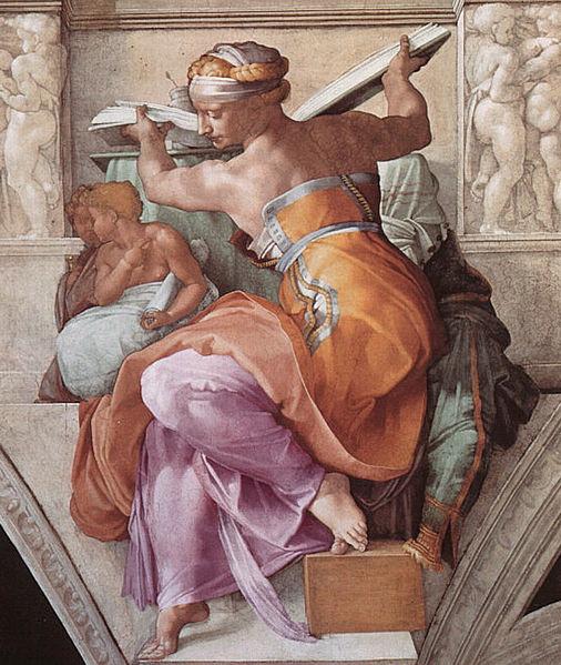 ミケランジェロ『システィーナ礼拝堂天井画』リビアの巫女