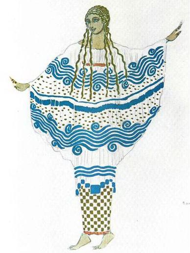 レオン・バクスト バレエ「牧神の午後」(ドビュッシー作曲)衣装デザイン Bakst-Afternoon of a Faun_nymph