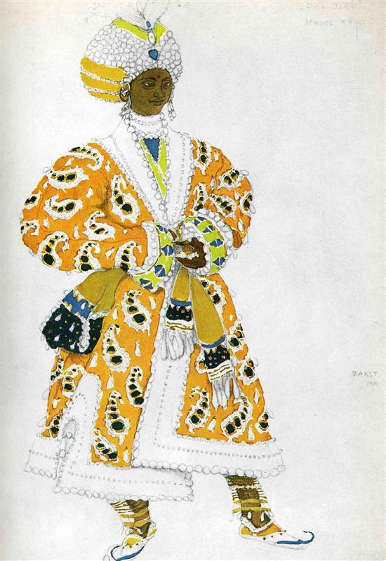 レオン・バクスト Leon Bakst Леон Бакст バレエ「青神」衣装デザイン-le-dieu-bleu-a-young-rajah-1911