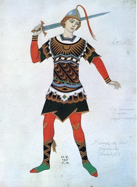 イワン・ビリービン Bilibin_バレエ「火の鳥」(ストラヴィンスキー作曲)衣装デザイン costume-design-for-the-ballet-firebird-by-igor-stravinsky-1931