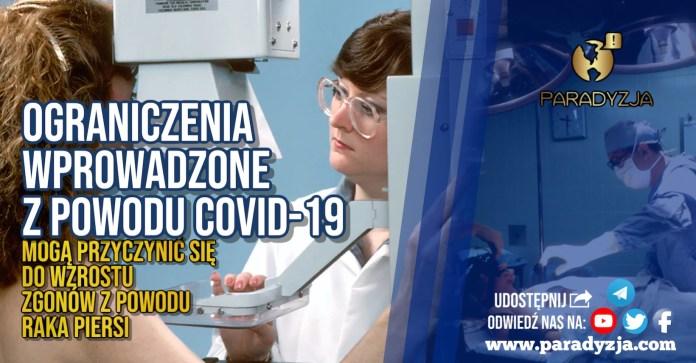 Ograniczenia wprowadzone z powodu COVID-19 mogą przyczynić się do wzrostu zgonów z powodu raka piersi