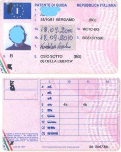 Exempel på Italienskt körkort