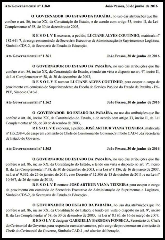 Diário Oficial: Ricardo mexe na Educação, Espep e Chefia do Cerimonial do Governo