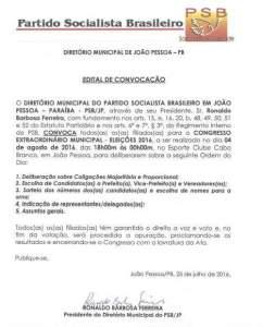 PSB de JP convoca filiados e pré-candidatos para Congresso Extraordinário Municipal