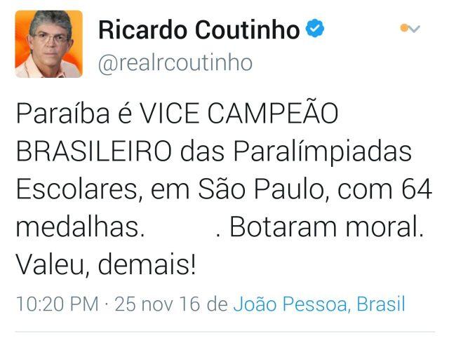 Ricardo parabeniza atletas paraibanos pelo desempenho na Paralimpíadas