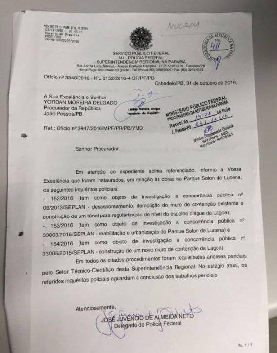 Polícia Federal investiga obra da Lagoa em três inquéritos