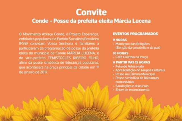 Márcia Lucena divulga programação de sua posse na Prefeitura do Conde