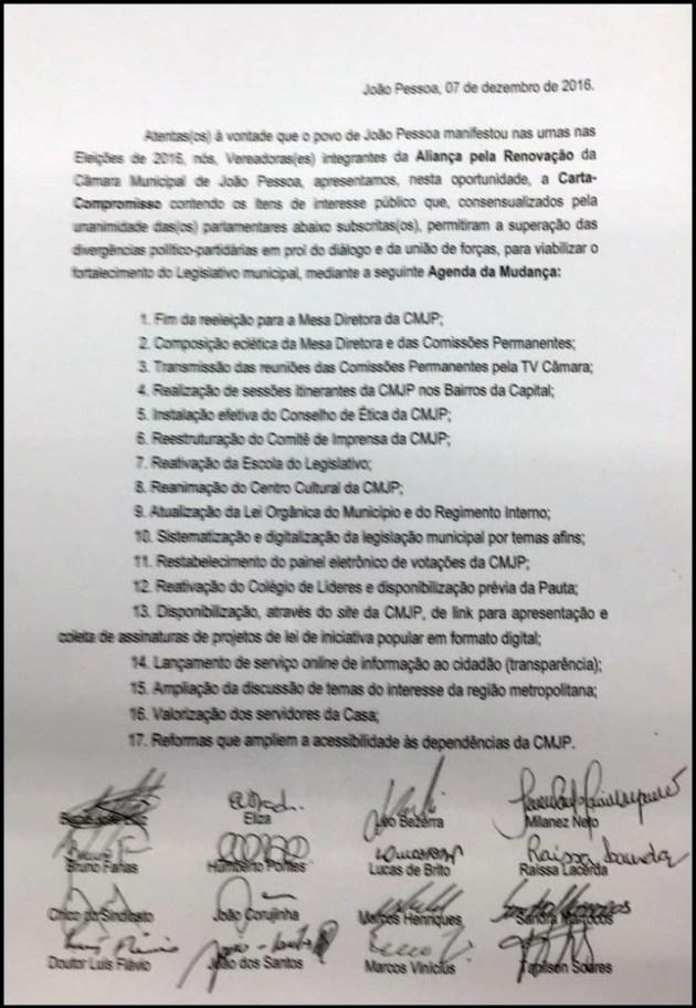 Vereadores lançam carta compromisso em apoio a tucano para presidente da CMJP