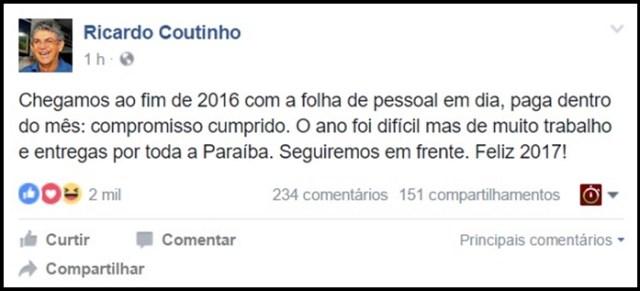 Ricardo usa o Facebook para avaliar 2016: 'foi difícil, mas de muito trabalho e entregas'